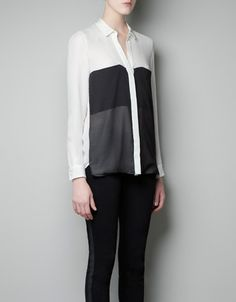 zara panelled blouse