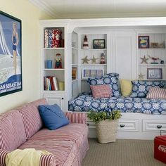beach basement, addit, builtin daybed, bookcas, nook, beach house basement, builtin bed, daybeds with storage, bedroom