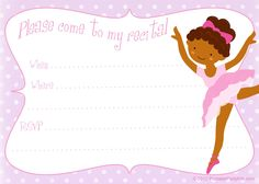 Free printable dance recital invitation