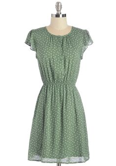 Petal Through the Day Dress. Going about your day is as effortless as the flight of a petal dancing in the wind when you're wearing this pocketed dress! #green #modcloth