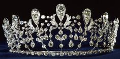 The Bourbon Parme Tiara:  Created in 1919 by Joseph Chaumet of diamonds set in platinum.    Provenance:   1. Hedwige de la Rochefoucauld, on the occasion of her 1919 marriage to Prince Sixtus of Bourbon Parme.   2. Chaumet     Other Wearers:     Stella Tennant in an advertisement.   Sophie Marceau in an advertisement.   Valerie Lemercier at an event .
