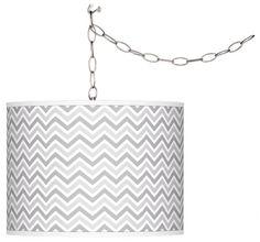 Swanky Gray Narrow Zig Zag 10-Inch-H Plug-In Swag Pendant -