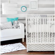 The chevron pattern in a baby room.