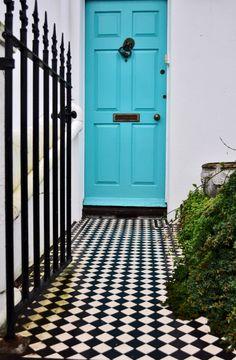 the doors, tiles, blue doors, door colors, black white, turquois door, hous, floor patterns, black and white front doors