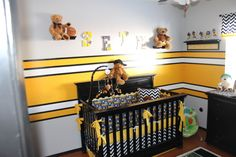 Steeler football room, Steelers football theme room. Included bears to make it more child like. All stripes are painted (not a decal). Lockers are also custom painted, Crib with custom bedding. Created letters for his name and my wife painted them., Boys Rooms Design