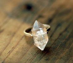 Herkimer Diamond Ring Sterling Silver Rivet  Custom by lumafina.
