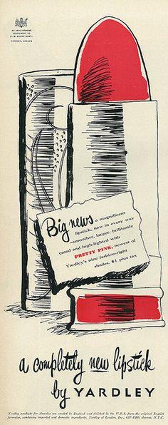 Yardley Lipstick ad, 1950.
