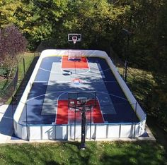 "This is a 32' x 62' year round #sportcourt rink features D1 Tall (42"") #hockeyboards with Rounded Corners and several Player Gates for easy access on and off the rink. D1 hockey #dasherboards are handcrafted in the U.S.A.  If you are considering #sportcourt or #syntheticice and looking to build a synthetic #icerink or you need #hockeyboards for your #backyardicerink or #backyardrink, D1 #hockeyboards are the perfect #hockeyrink solution."