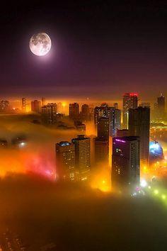 wonderous-world: City of Color Fog by Mo Aoun