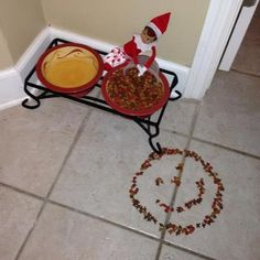 """Elf on the Shelf with Pet Food....most likely this year will be the last (oh we'll continue, but it won't be as fun as with a """"real believer"""")"""