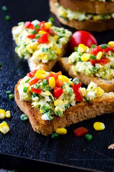 Avocado egg salad is a wonderful healthy salad that you can serve as bruschettas or sandwiches. It's ready in no time and disappears in a minute.| giverecipe.com |  #eggsalad #avocadorecipes #healthysalad #bruschetta #eggandavocado