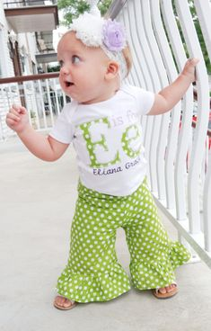 Infant Girls, Girls Polka Dot Ruffle Pants- Newborn to size 8 on Etsy, $12.00