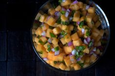 Cantaloupe Salsa by smittenkitchen as adapted from Gourmet: No cooking and  a nice change up from (and much easier to prepare than) mango salsa. #Slasa #Cantaloupe #smittenkitchen