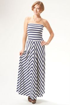 Portia Convertible Navy & White Striped Dress from kika! So cute as a dress or skirt - can be worn many ways, and while supplies last! Get an extra 15% off when you register on the site! www.shopkika.com/staceymonroe