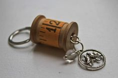 Scissor Fob/Key Chain with vintage wooden by OldeGreenCupboard, $10.00