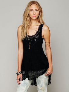 Free People Embroidered Tunic Top