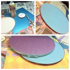 """Cool cake board ideas from Hot Mama Cakes: """" This is how I make my cake boards. So much cheaper than buying them! Take two cardboard cake rounds, an 8 inch round should cost around .22 cents, depending on your supplier. Spray with tacky glue and stick the two together. Have a pretty piece I scrapbook paper on hand, spray cake board with glue again, press paper to it, let dry and the cut of the excess. I use a hot glue gun to add ribbon and sometimes a bow. All for under $1."""""""