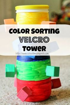 Color Sorting Activity with Velcro- great for fine motor & colors!