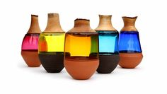 ceramic, glass and wood stacking vessels