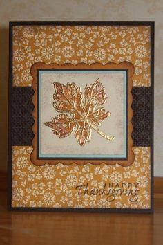 "Lovely Gently Falling Gold ""Happy Thanksgiving"" Card...by kookies."