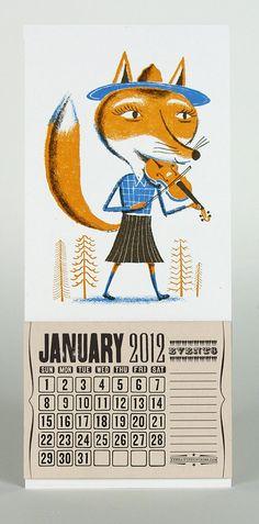 FOXY FIDDLER mini calendar for 2012 Hand Printed Letterpress / $14