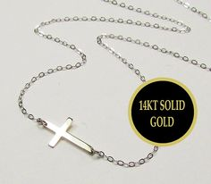 14KT WHITE Gold Tiny Sideways Cross Necklace Miley by gemsinvogue, $135.00