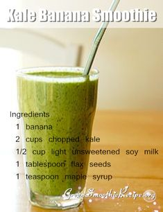 Kale Banana Smoothie Recipe(a healthy green smoothie)