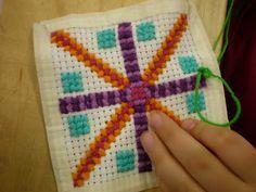 binkybrownie teaches handwork: 4th Grade Cross Stitch in progress...