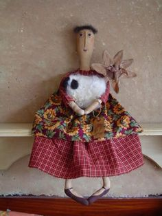 PRIMITIVE DOLL, folk art, sheep, daisy on special order and buy it now amount