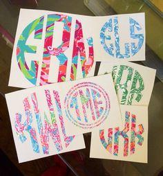 Lilly Pulitzer Monogram Decal Sticker DIY by GirlAndHerDogShop, $8.00 CUTE