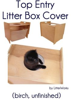 Top Entry Litter Box Cover (birch, unfinished) by LitterWorks - Price: $99.00 #catlitterboxfurniture #cat #litter #box #furniture - http://www.catbedandtoy.com/cat-litter-box-furniture