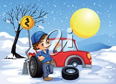 iCLIPART - Illustration of a boy repairing a car in a snowy area