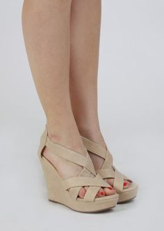Strappy Wedges #nude #wedges #shoes #kieus
