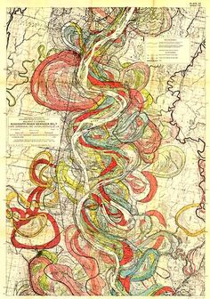 This is an incredible map of the Mississippi River Meander Belt -- the course that the river has taken over the past 10,000 years from Cape Girardeau to Donaldsonville, Louisiana. The illustration was done by Howard N. Fisk in 1944, when he was with the U.S. Army Corps of Engineers.