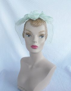 1960's Vintage Green Whimsey Fascinator with Bird Cage Veil