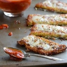 cauliflower crust garlic breadsticks...a mixture of cauliflower + cheese replaces the bread. try it to see for yourself!