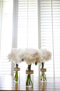 Simple white flower arrangements