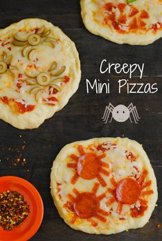 Creepy Mini Pizzas - A spooky but delicious Halloween treat for kids of all ages! | foxeslovelemons.com