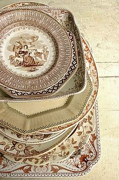 Brown transferware.