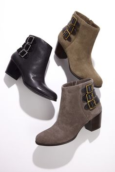 Your new buckled bootie must-have with a walkable stacked heel and side zipper.