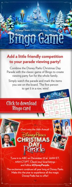 Disney Parks Christmas Day Parade Bingo cards #DisneyParade #Christmas #WaltDisneyWorld