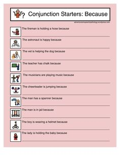 Adventures in Speech Pathology: Conjunction Starter Worksheets for Because-learning tool for building complex sentences. Pinned by SOS Inc. Resources. Follow all our boards at pinterest.com/sostherapy for therapy resources.