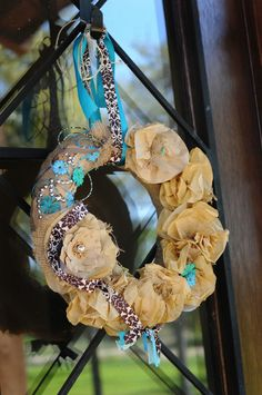 the doors, burlap wreaths, burlap flowers, turquoise, shower baby