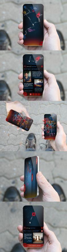 fullscreen.  Opportune (2013) - School Project. A futuristic concept for location based mobile app.