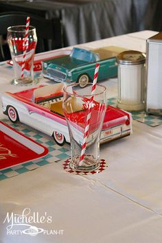 Cute 1950's diner retro themed birthday party with tons of ideas! Sock hop party ideas  more. Via Kara's Party Ideas KarasPartyIdeas.com #poodleskirt