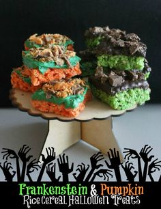 Frankenstein and Pumpkin Rice Cereal Halloween Treats
