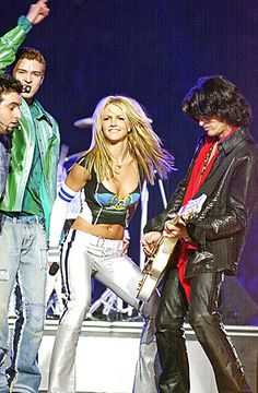 Britney Spears rocks out during the 2001 Super Bowl XXXV Halftime Show
