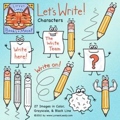 Let's Write Clip Art: whimsical Pencil & Paper characters for making and selling teaching resources with a writing theme. A FREE sample to try is contained in the Preview.