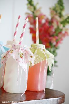 love these drinks... bottl, little girl parties, summer parties, paper straws, parti drink, mason jars, parti idea, baby showers, party drinks
