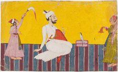 Man and Attendants, Pahari, India, c. 1710, Harvard Art Museums/Arthur M. Sackler Museum. facial featur, art museumsarthur, sackler museum